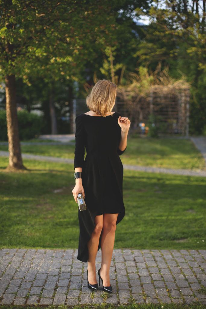 All Black Formal Outfits: Priscila Betancort is wearing a black David Christian dress paired with Saint Laurent heels
