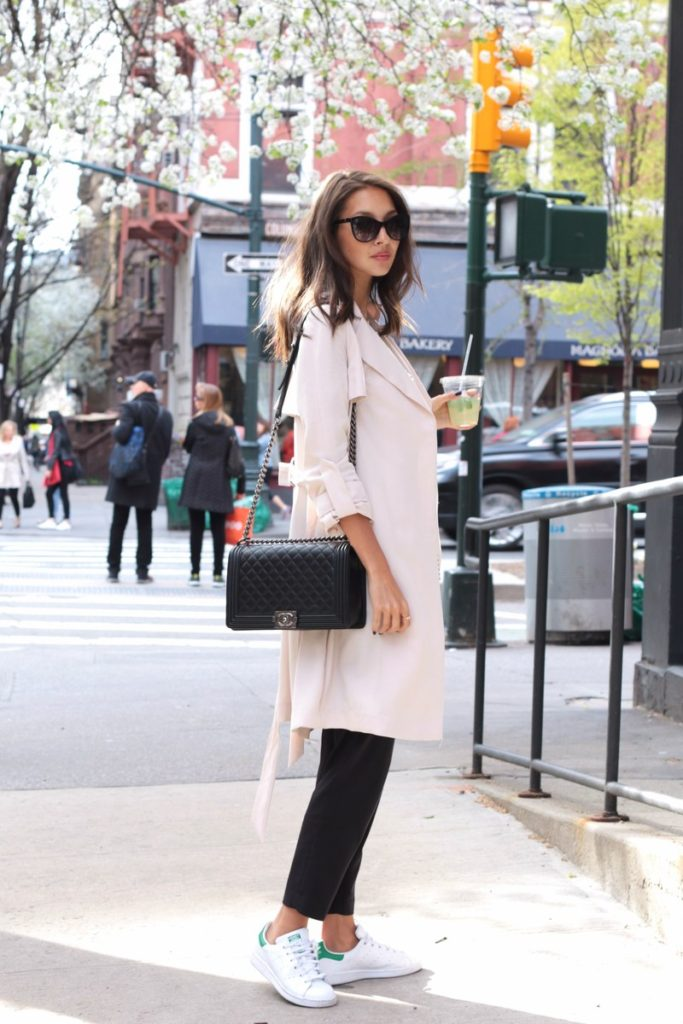 Draped Trench Coats: Felicia Akerstrom is wearing a rose pink H&M draped trench coat