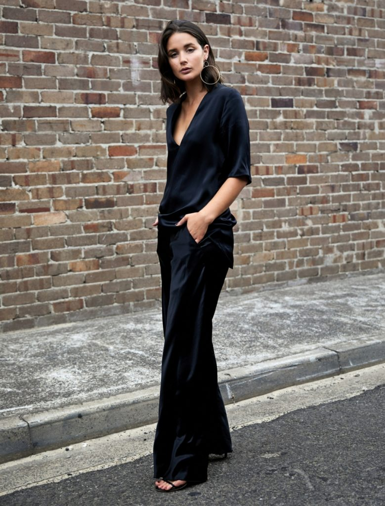 Sara Donaldson has absolutely mastered the essence of all black style here, in a silky two piece which is to die for! Pairing the suit with statement hoops and sandals, Sara has created a sleek and sexy style. Outfit: The Undone.