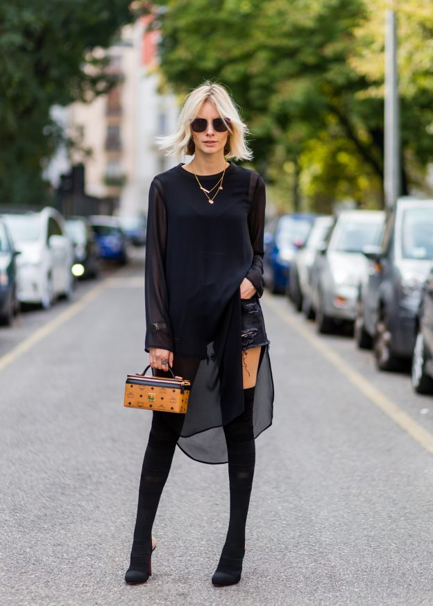 We all love an all black outfit! Try wearing thigh high boots with denim shorts and a mesh style top to steal Lisa RVD's edgy and authentic monochome style.   Dress: Talk About, Shorts: Levi´s, Boots: Christian Louboutin, Bag: MCM.
