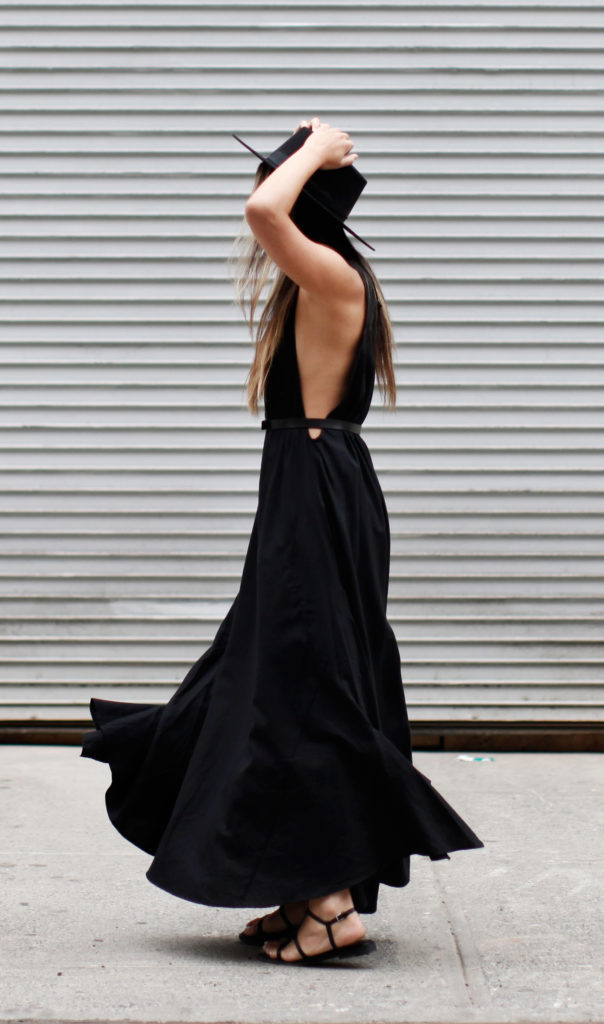 The all-black look, maxi dress, hat and sandals. Via Serena Goh  Dress: Assembly, Sandals: Cos