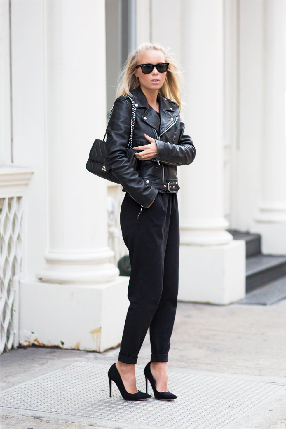 Victoria Tornegren is wearing all black, shoes from Asos, trousers from H&M, Jacket from BLK Denim and the bag is from Chanel