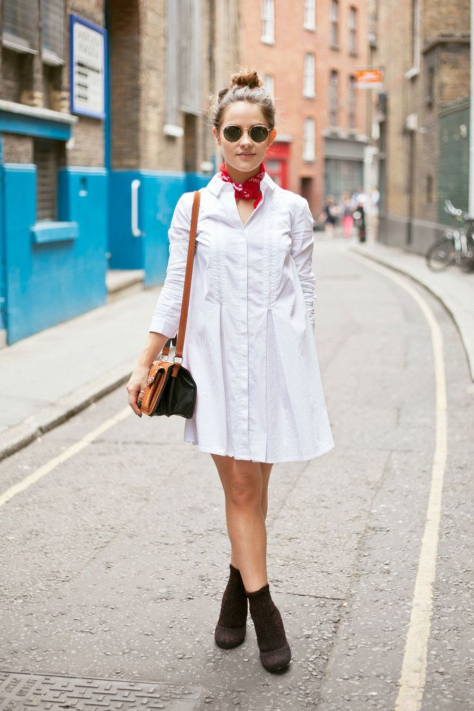 That's how easy it can be done. A simple white shirt dress paired with a red bandana and a pair of ankle boots. Via Amy Spencer. Dress: Topshop, Boots: Senso, Bandana: Unknown, Bag: Zara