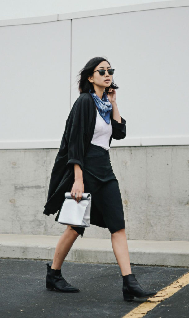 Alyssa Lau wearing is all black and white with a blue bandana around her neck to give it a bit of colour.   Skirt/Bag/Cardigan: New Classic Studios, Boots: Acne, Sunglasses: RayBan Bandana: Unknown. Blue Bandana Outfits