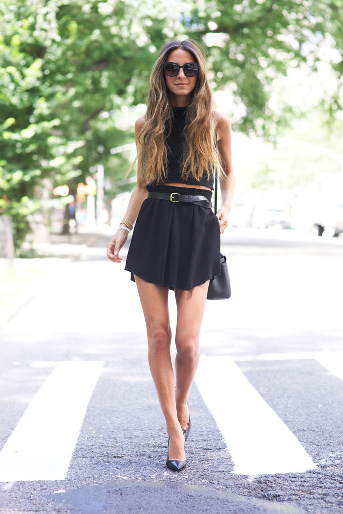 Black top, skirt and shoes. Elegant. Via Arielle Nachami Skirt: Isabel Marant, Belt: Steven Alan, Shoes: Christian Louboutin, Top: Reformation, Bag: Fendi, Sunglasses: Bottega Venetta