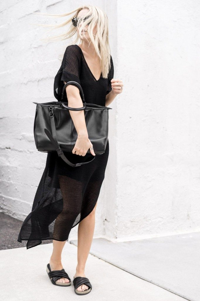 All black sheer dress outfit. Via Figtny