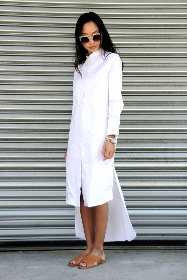 White Outfits For Spring 2015: Linh Niller Huynh is wearing a white Elliot shirt dress