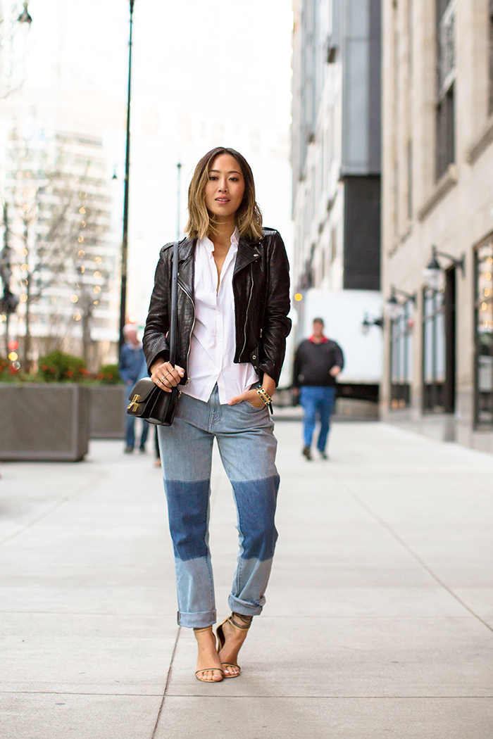 Via Just The Design: Aimee Song is wearing a Laer Classic Croc black leather jacket with Wildfox patchwork denim jeans and Isabel Marant heels