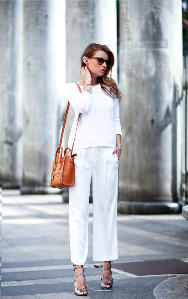 All White Spring Trend: Veronica Ferraro is wearing a white sweater and trousers from Peserico