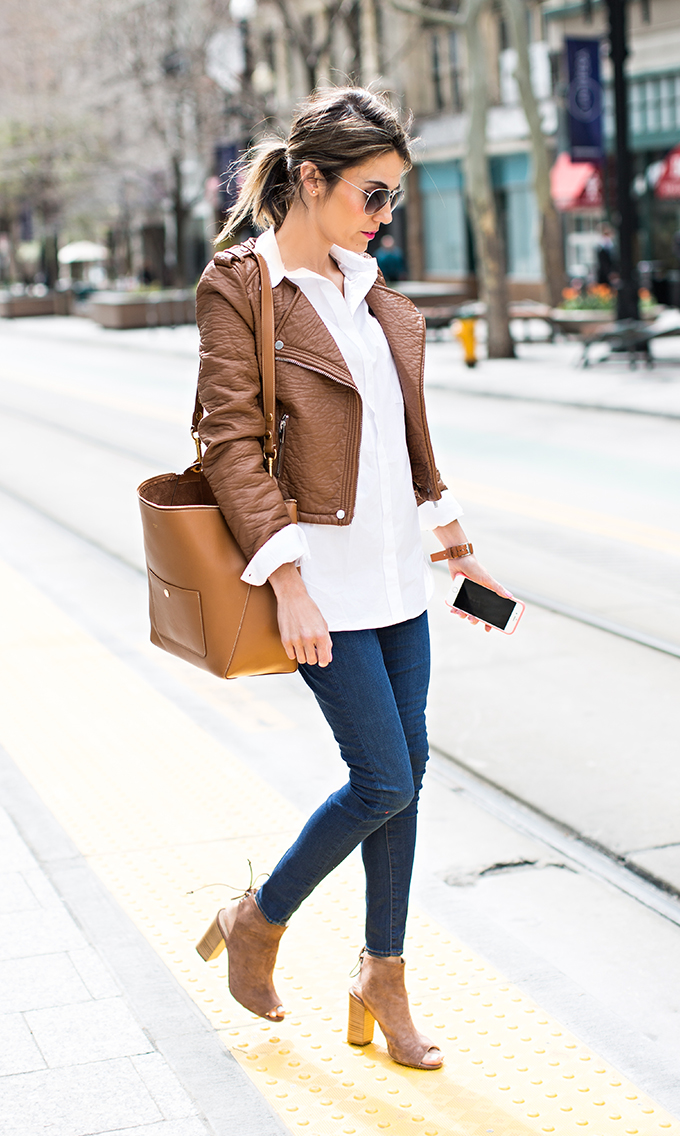 3673e93bba1 Just The Design  Christine Andrew is wearing a camel faux leather jacket  with a Madewell