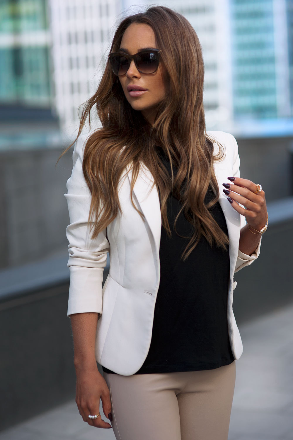 Street Style, April 2015: Johanna Olsson is wearing a white Reiss blazer with a black Dagmar top and beige Patrizia Pepe leggings