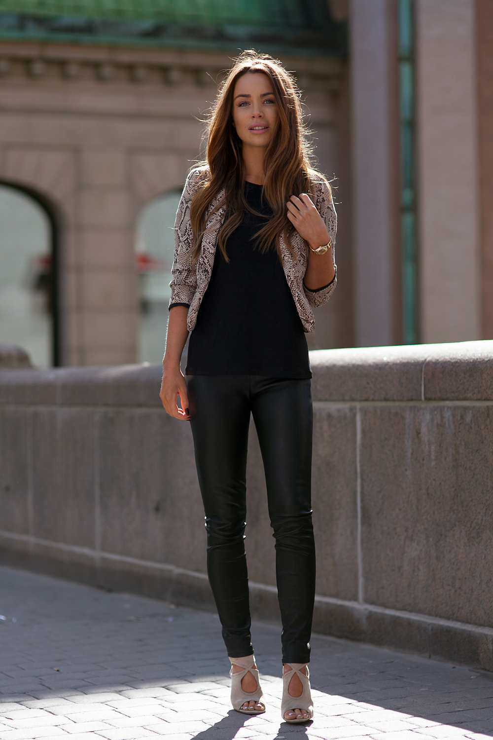 Street Style 2015 Johanna Olsson Is Wearing A Pair Of David Lerner Leather Pants With A Snake