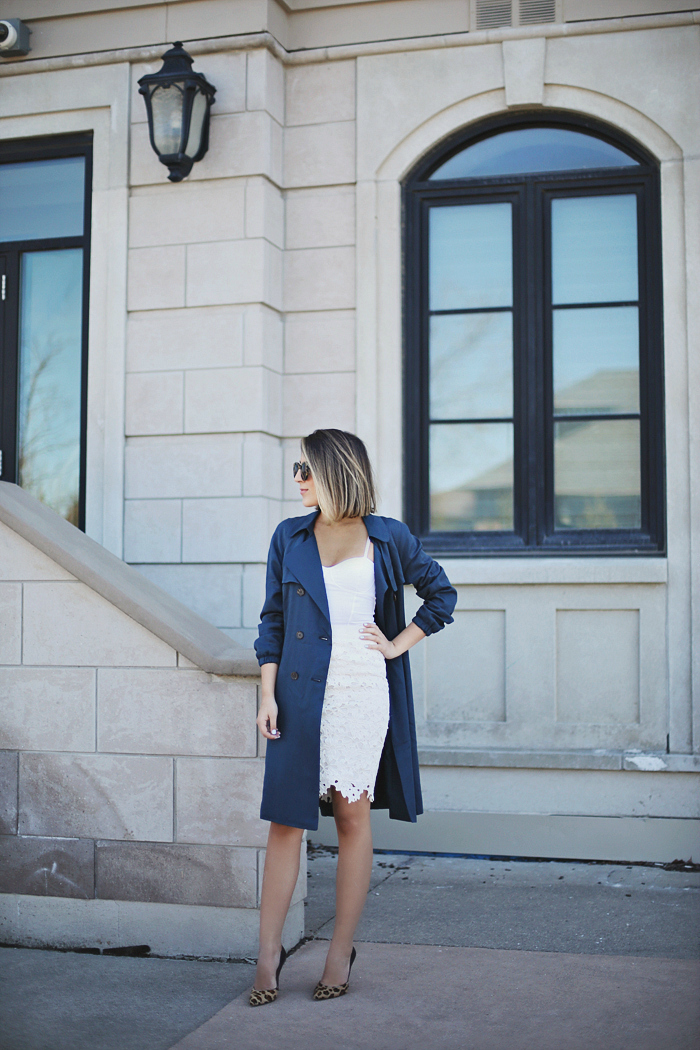 Draped Trench Coat And Dress: Stephanie Sterjovski is wearing a royal blue Loft trench coat