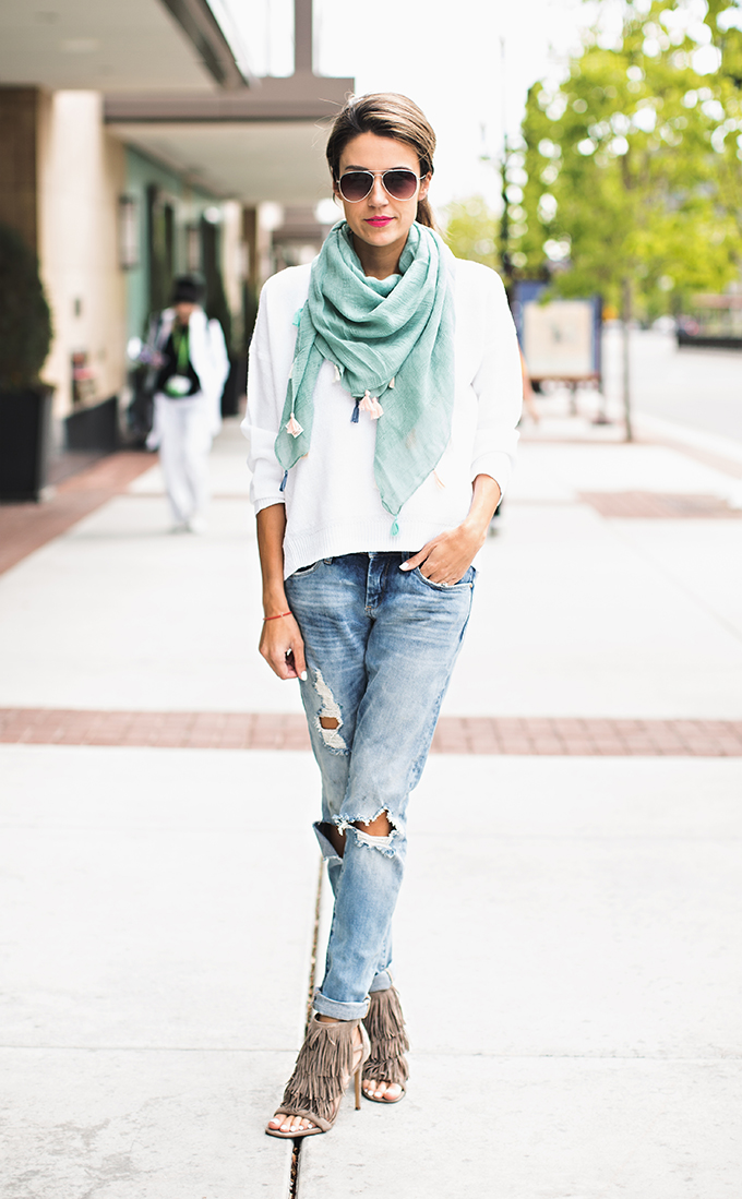 61ac286b65e Street Style, April 2015: Christine Andrew is wearing a J Brand white  sweater with