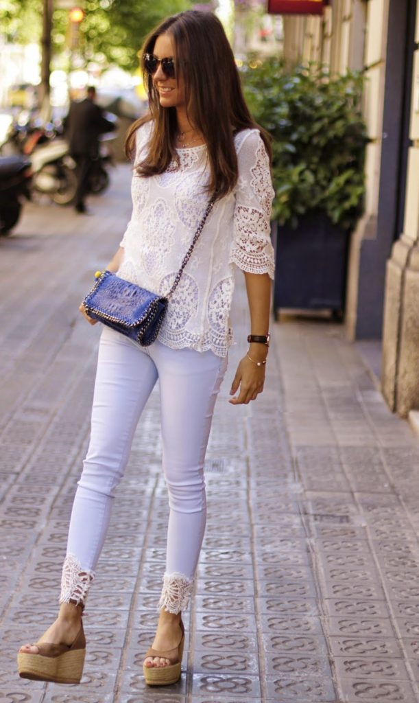 White Lace Outfits: Sandra Buisan white lace top and skinny jeans from Chic 080