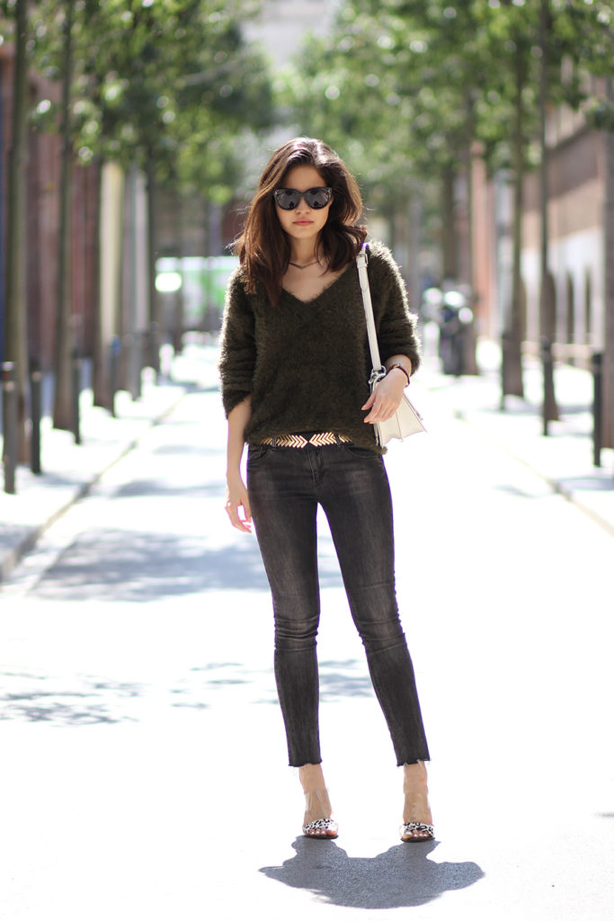 Street Style, May 2015: Adriana Gastélum is wearing a furry forest green sweater from H&M, Pull & Bear grey skinny jeans and a pair of leopard print Guess heels