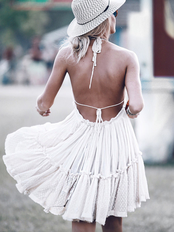 Mary Seng goes boho with this cute summer dress. Dress: Free People, Hat: Urban Outfitters