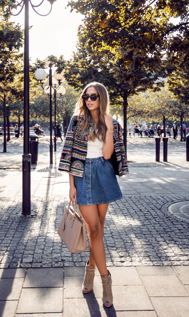 Not so much boho as boho chic. The jacket and skirt reflects the 70′s, but the shoes and bag brings the outfit solidly to modern day. Via Kenza Zouiten Jacket/Skirt: Zara, Shoes: Topshop, T-shirt: Acne, Sunglasses: Karen Walker, Bag: Prada