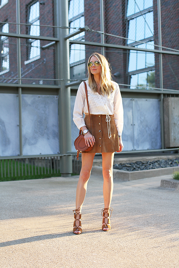 Amy Jackson in a button front suede skirt, matching shoes and and loose fitting cotton top. Very boho. All Items: Topshop