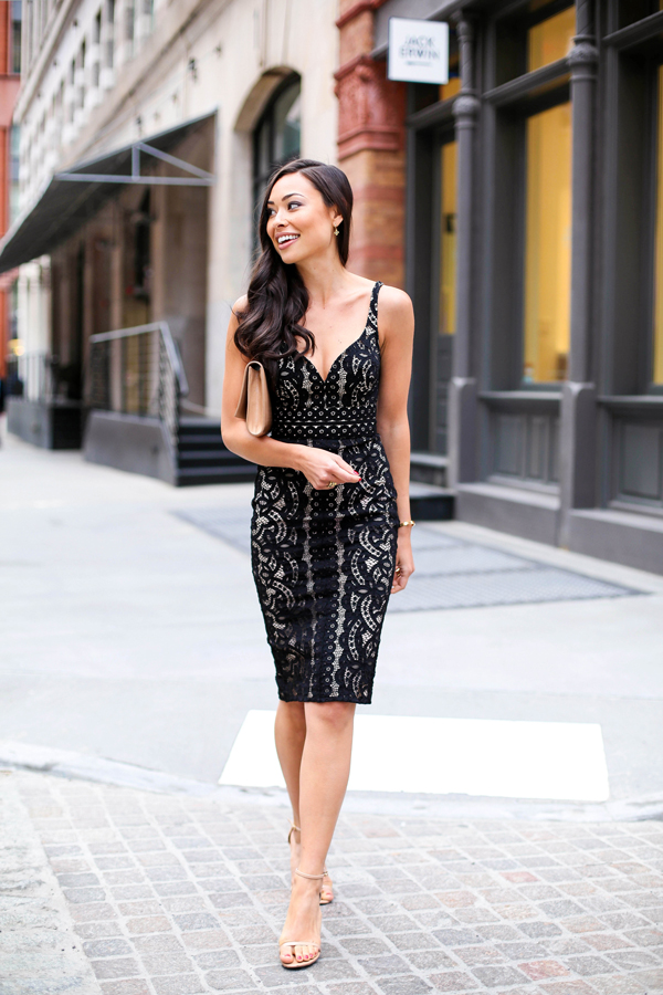 How To Wear A Lace Dress: Kat Tanita is wearing a black lace dress from Lovers, Tan clutch and shoes from Yves Saint Laurent and Stuart Weitzman respectively