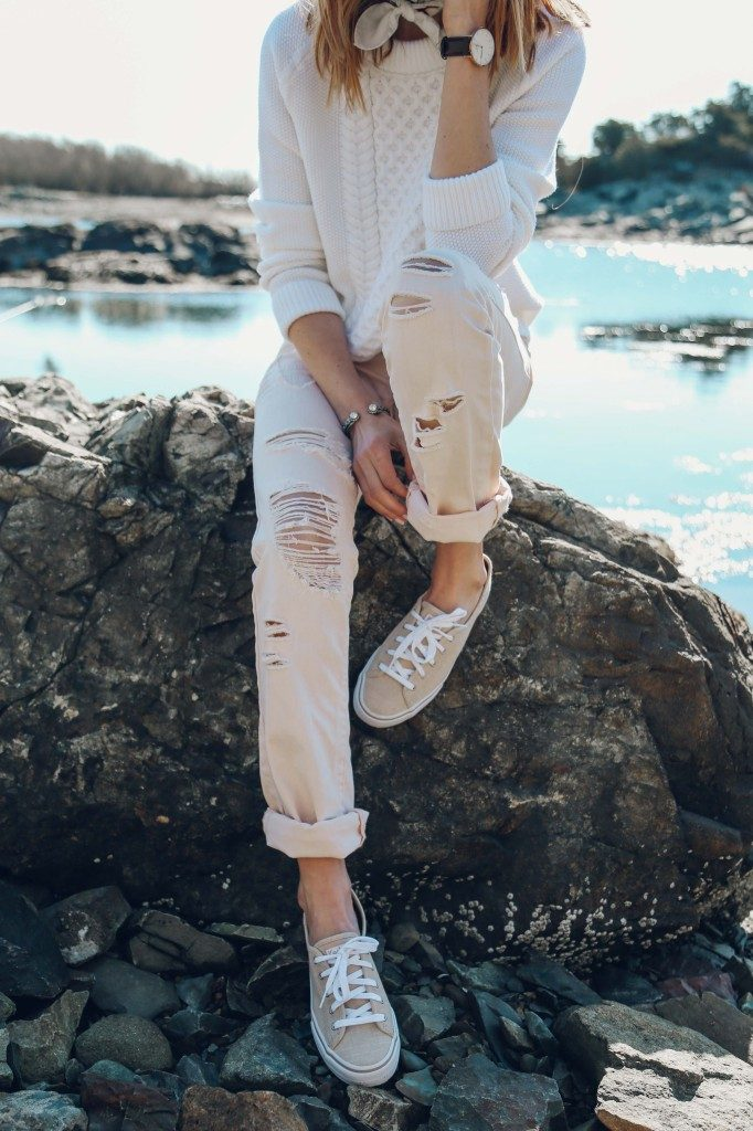 Street Style, March 2015: Jess Ann Kirby neutral consists of distressed Blank NYC jeans, sneakers from Keds and a white AYR sweater