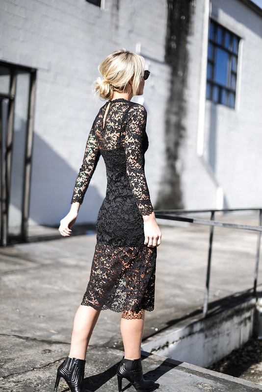 Dark lace is definitely the most sexy way to wear the trend. This black midi dress from French Connection looks amazing worn with ankle boots and casual shades, but could also be dressed up with heels for evening wear. Via Mary Seng. Dress/Boots: French Connection.
