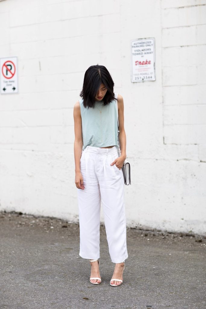 Claire Liu in a very simply spring outfit, mint green top, white pants and shoes  Top: Mary Young, Pants: Zara, Shoes: Le Chateau