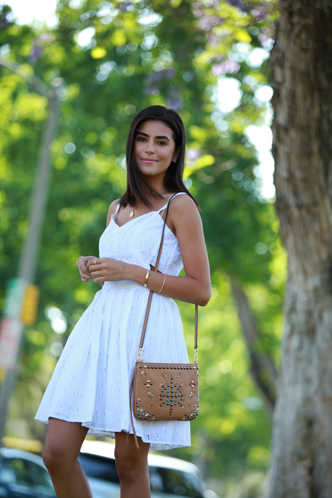 c6714b8a65e Sazan Barzani in a simply cute white dress outfit with an embellished bag  Dress  Nordstrom