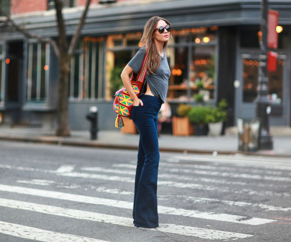 Flares and a tee. 70′s inspired Outfit. Via Bridget Helene Bahl T-shirt/Jeans: Abercrombie & Fitch
