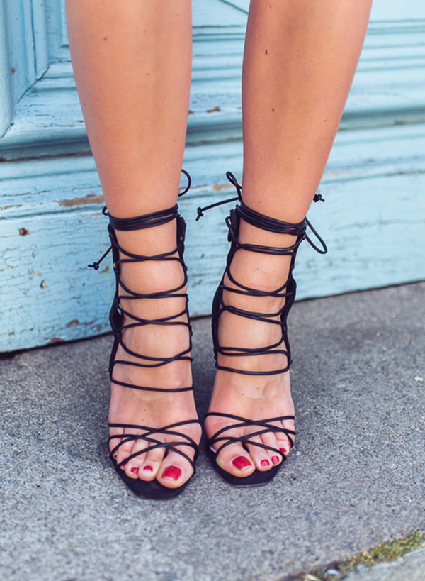 The lace up shoes trend was huge for Spring and will be for Summer too. Via Janni Deler Shoes: NLY Design