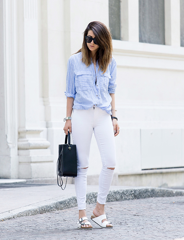 Love the vertical striped shirt. Via Nicoletta Reggio White Jeans: Zara, Shirt: H&M, Bag: Phillip Lim, Sandals: Birkenstock