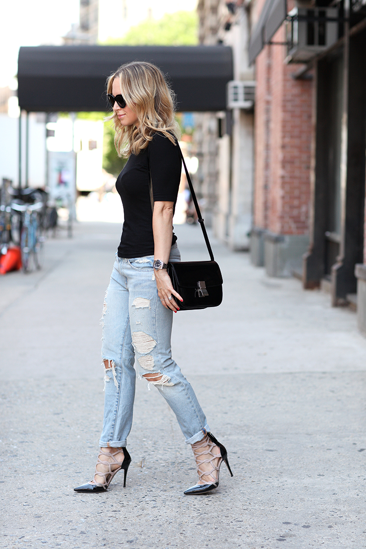 Black T-shirt with matching shoes and bag and a pair of ripped jeans. Via Helena Glazer Top: Topshop, Jeans: Denim & Supply, Shoes: Valentino, Bag/Sunglasses: Celine