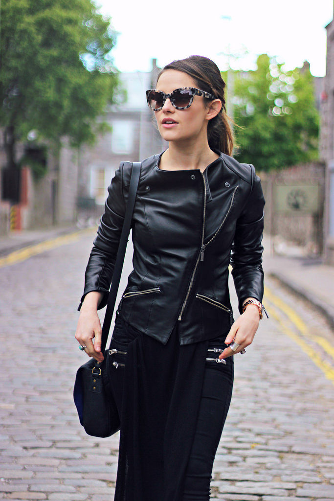 Combine a long on long outfit with with a leather jacket and tortoise sunnies. Via Amy Spencer  Jacket: Barbour, Sunglasses: Whistles. Spring Outfit