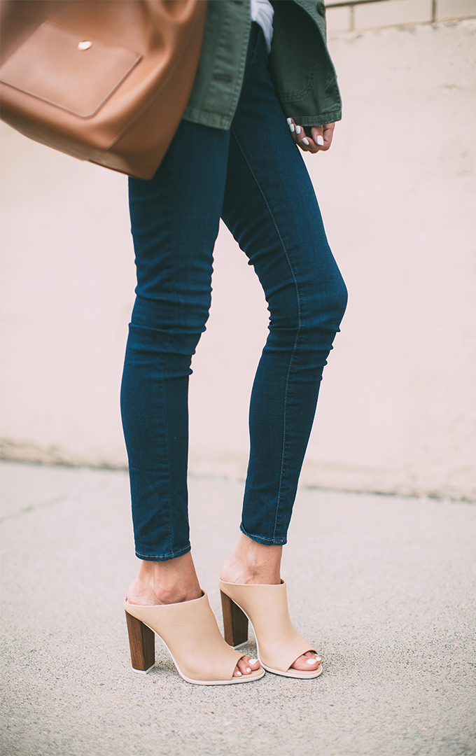 Another good example of how to wear your skinny jeans with mules. The dark blue and tan works great together. Via Christine Andrew Jeans: Topshop, Mules: Vince