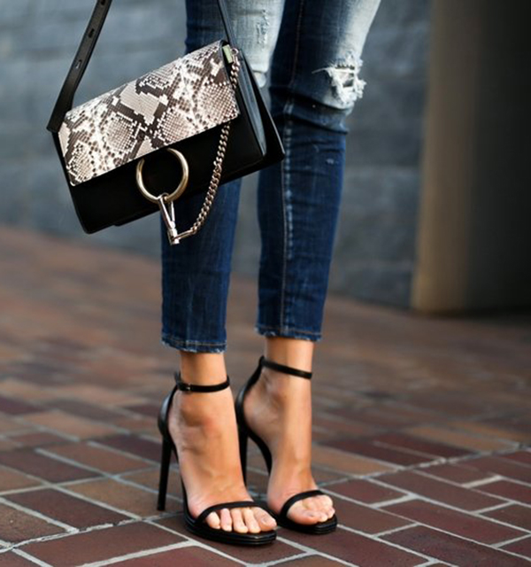 Pair your skinny jeans with a simple ankle strap sandal in the summer. Comfortable and pretty. Via Erica Hoida  Jeans: Dsquared2 Shoes: Saint Laurent