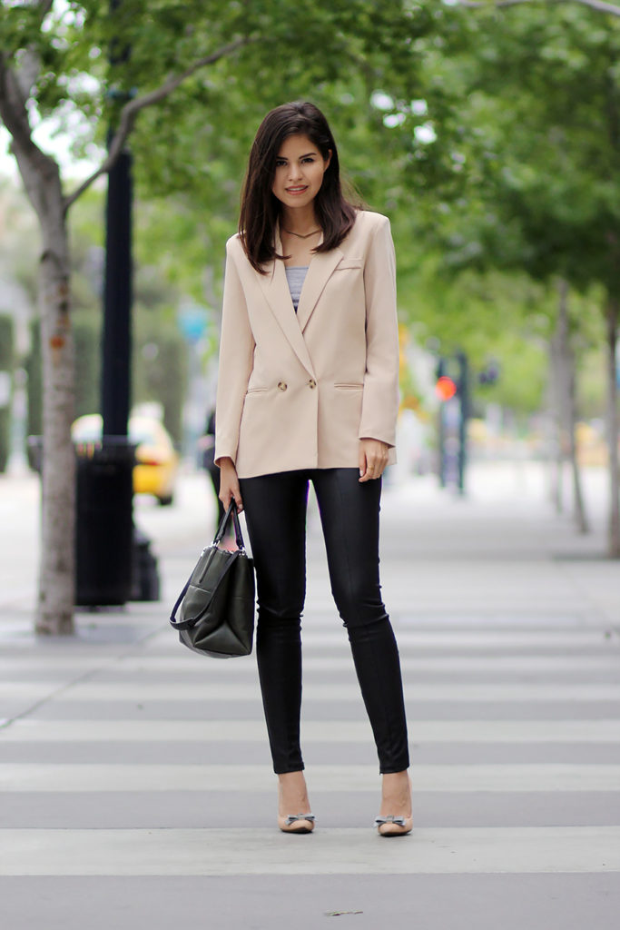 Cute Tomboy Outfits: Adriana Gastélum is wearing a Chicwish nude blazer