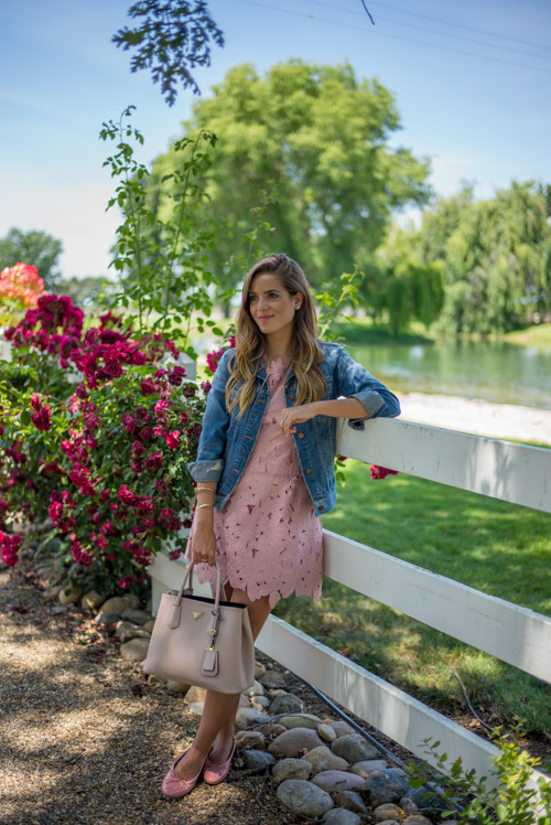 How To Wear A Lace Dress: Julia Engel is wearing a blush pink lace Chicwish dress