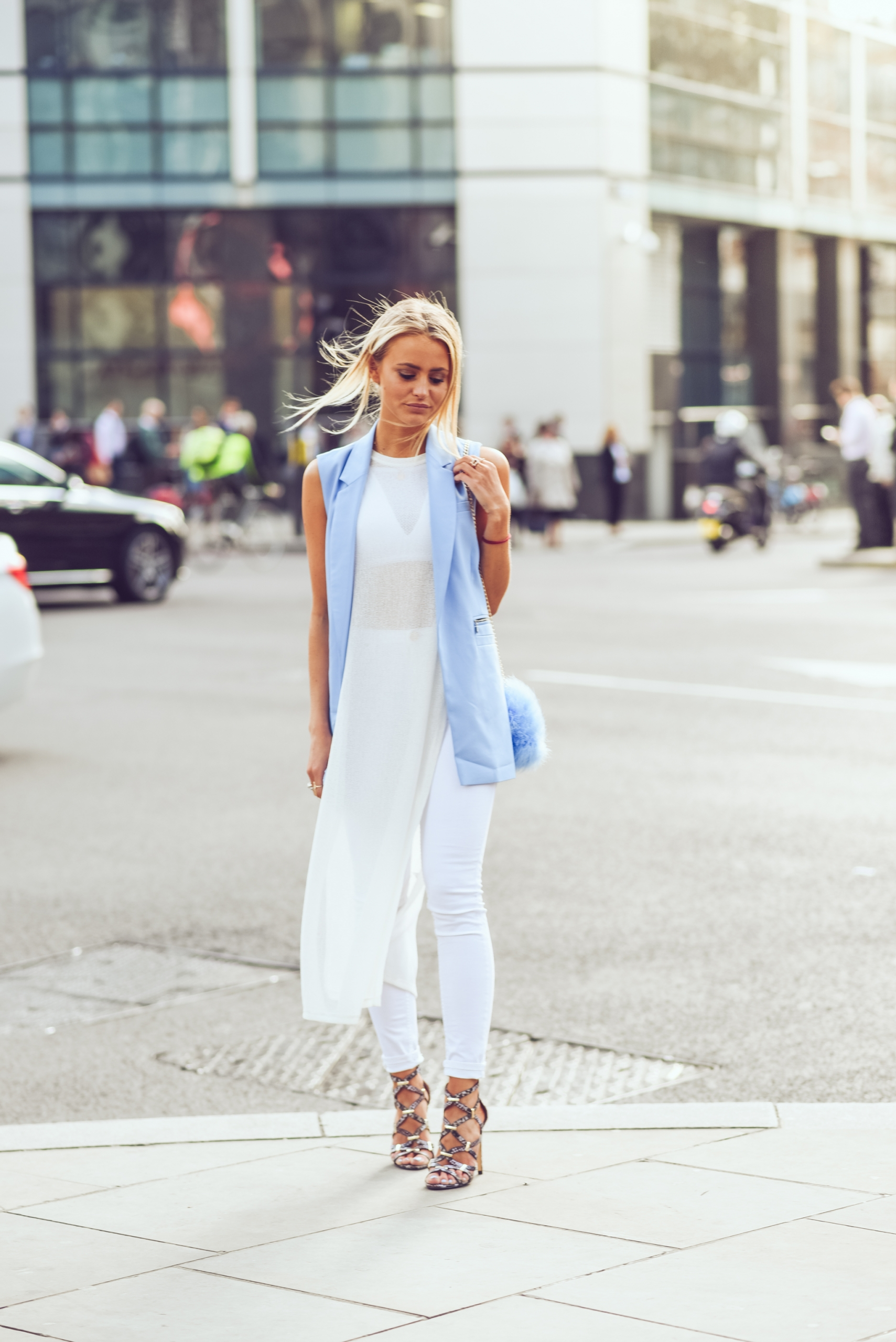 Janni Deler in a gorgeous semi sheer maxi dress over a pair of white skinny jeans Dress/Jeans: River Island