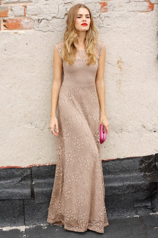 Mirian Perez is in an elegant nude maxi lace dress