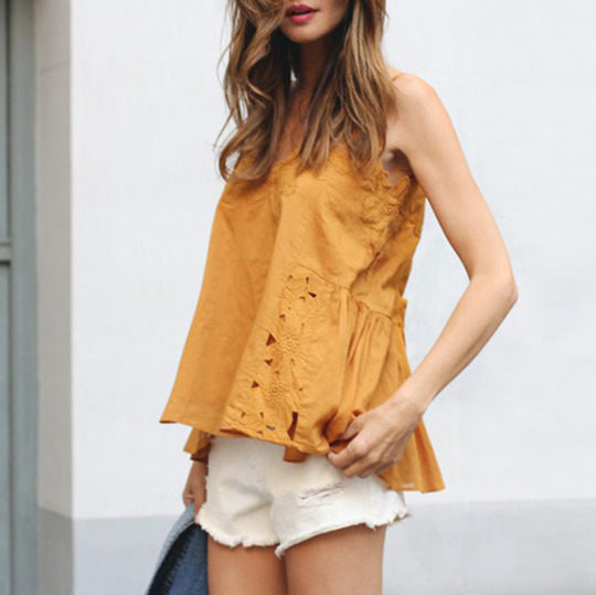 Silvia Garcia in a cute spring outfit, wearing a floral mustard H&M blouse