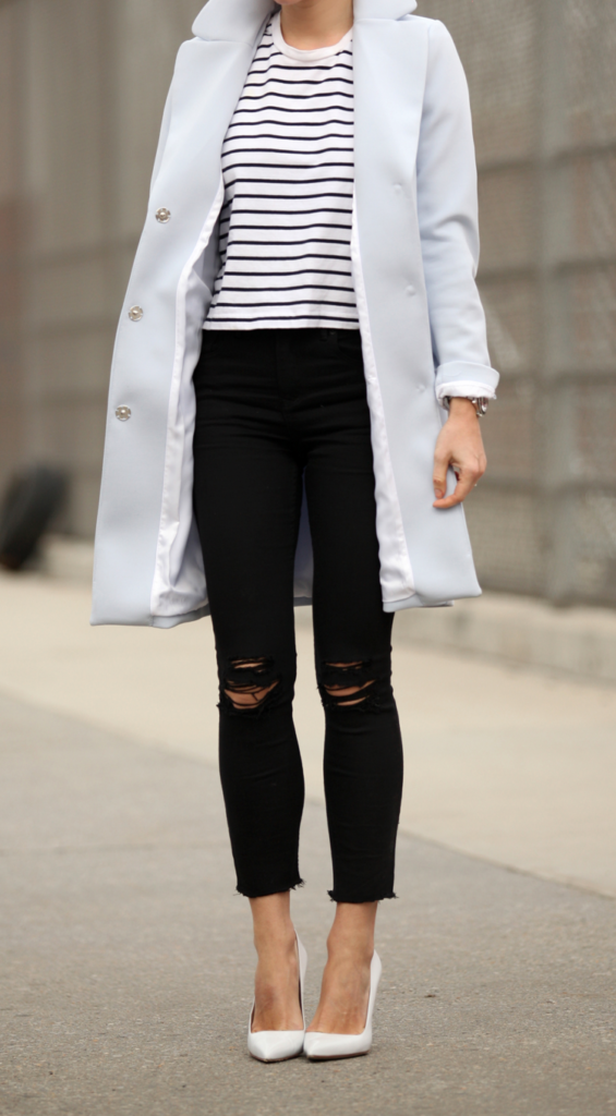 Helena Glazer in a classic pair of denim skinny jeans and white heels  Jeans: Express, Shoes: Manolo Blahnik