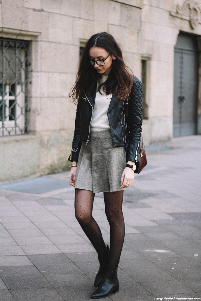 Street Style Fashion, May 2015: Beatrice Gutu is wearing a black Viparo black leather jacket, an ash grey pleated Benetton skirt with black Zara ankle boots