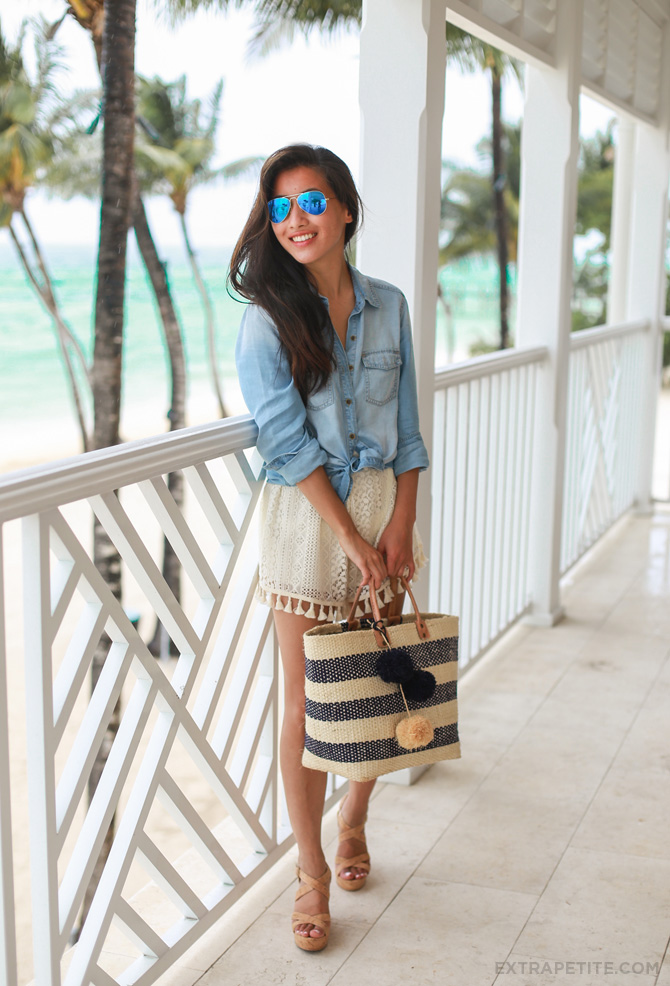 The combination of the crochet shorts and chambray shirt make for a both cute and feminine look. Via Jean Wang  Shirt: Halogen Petites, Shorts: Lush, Shoes: BP, Tote: Sol Collins
