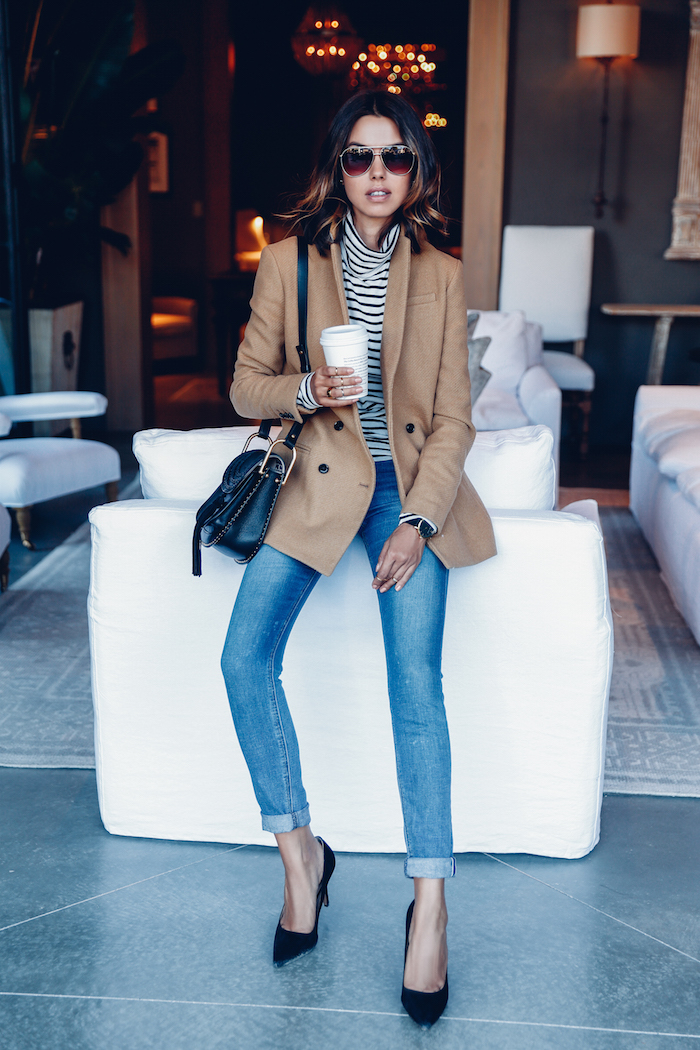 Wear your camel coloured blazer with rolled up jeans and a horizontal striped tee to steal Annabelle Fleur's look. Alternatively, wear a similar number with a plain tee and black jeans to switch the look up. Brands not specified.