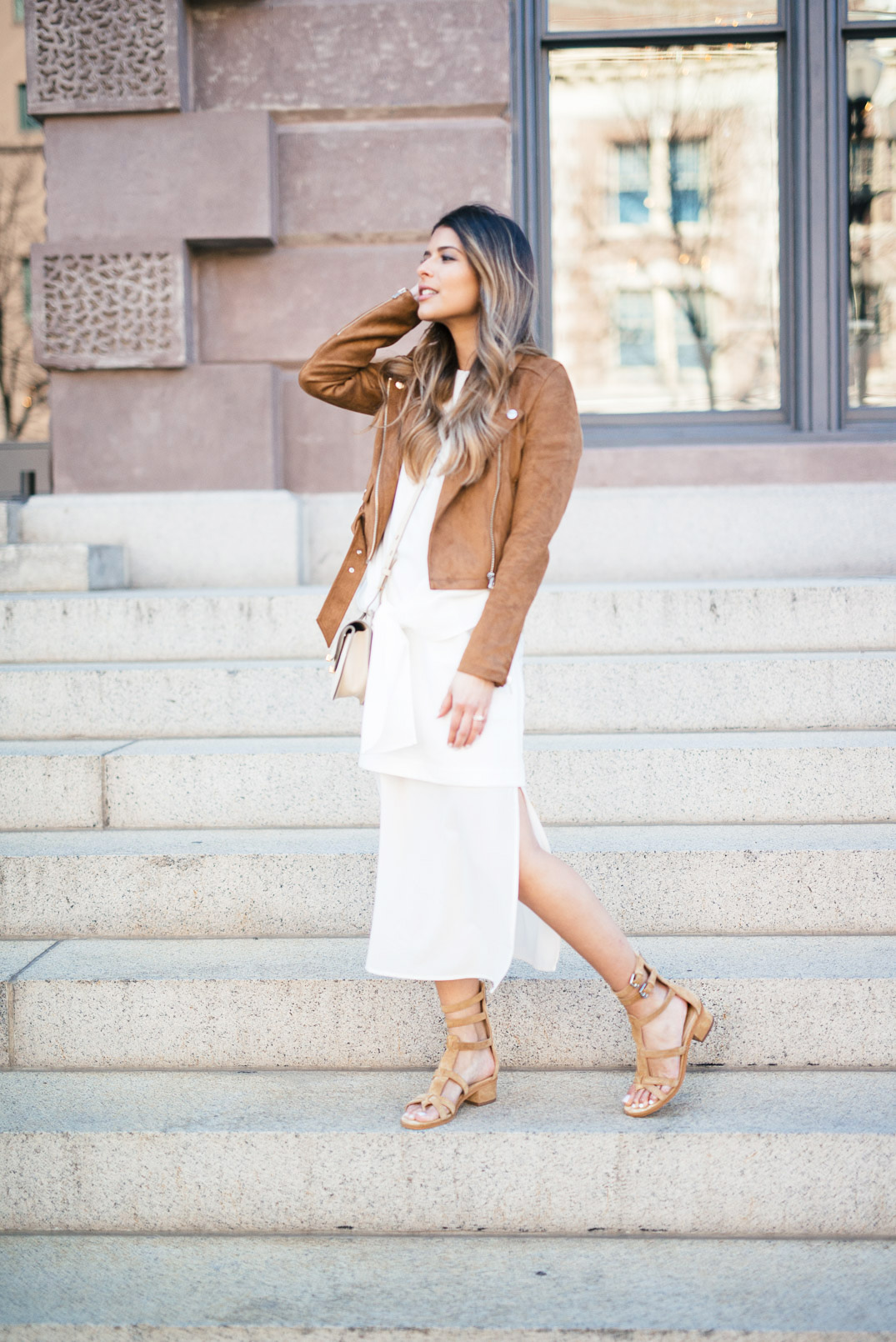 Gladiator sandals will always look good worn with a maxi dress; especially in white! This dress brings out the true rustic style of the sandals, and paired with a suede jacket looks ultra bohemian. Via Pam Hetlinger. Jacket: Aritzia, Sandals: Marc Fisher, Dress: Shopbop, Bag:Chloé.