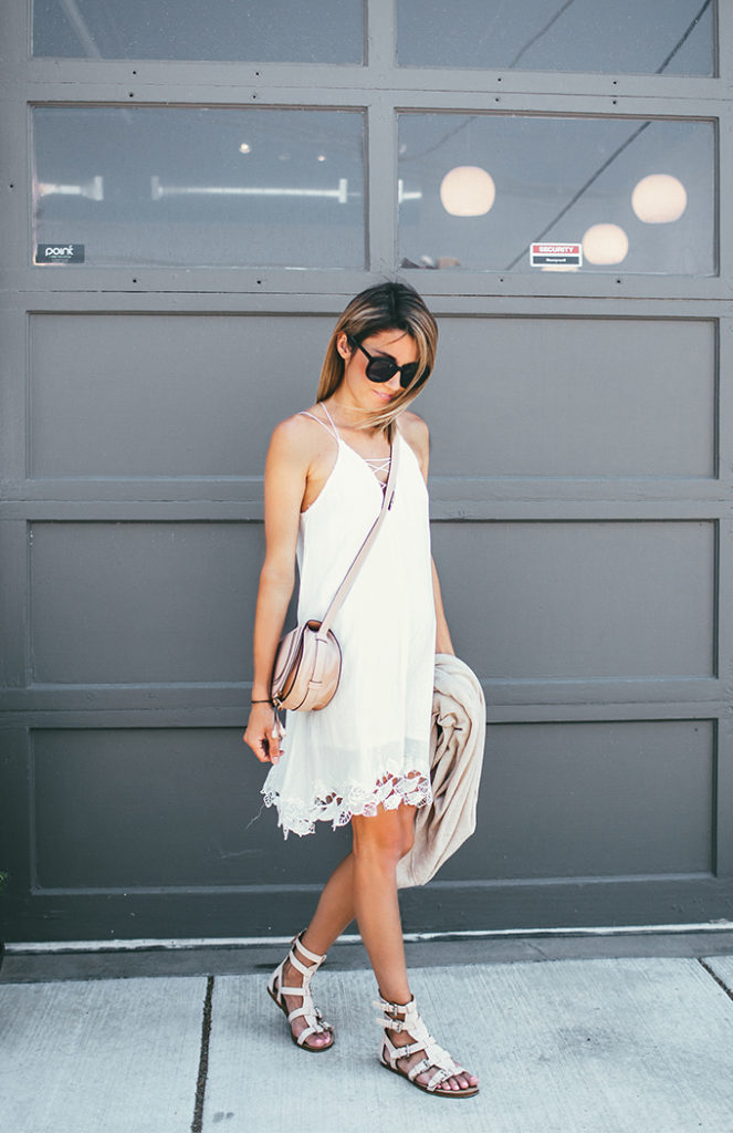 Super cute white dress, shoes and saddle bag. (That's the one bag you want to get this summer). Via Christine Andrew   Dress: Lulu's, Cardigan: Vince, Shoes: Sigerson Morrison, Bag: Chloe. From The Article: Casual Summer Outfits