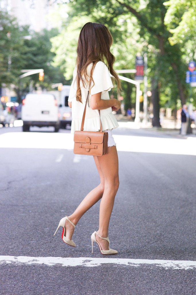 Cute and summery. Via Arielle Nachami Top: Rodebjer, Shorts: Rag & Bone, Sunglasses: Westward Leaning, Bag: Celine, Shoes: Christian Louboutin