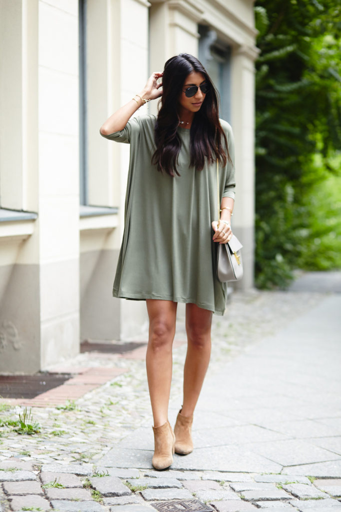 It doesn't come more simple than this. A khaki T-shirt dress for those very hot days. Via Kayla Seah  Dress: Asos, Boots: Mango, Bag: Chloe. Cute Summer Outfits