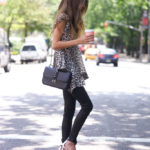Summer is here. Out comes to the animal print outfits. The leopard print looks amazing with the black skinnies and heels. Via Arielle Nachami Top: Zimmermann, Jeans: Rag & Bone, Shoes: Gianvito Rossi, Bag: Valentino