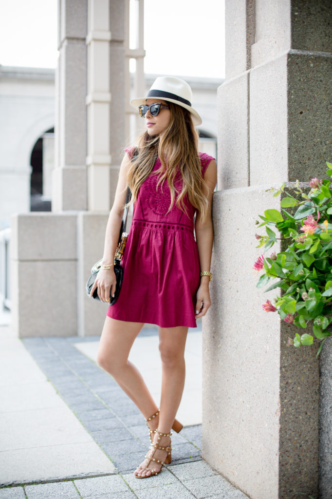 Cute Outfit For Summer: A tad bohemian in style off-set by the hat and shoes.  Via Pam Hetlinger  Dress: Loft, Shoes: Valentino, Hat: J. Crew, Bag, Gucci